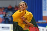 Lithuania's Airine Palsyte celebrates after winning the women's high jump final at the 2017 European Athletics Indoor Championships in Belgrade on March 4, 2017. / AFP PHOTO / Andrej ISAKOVIC